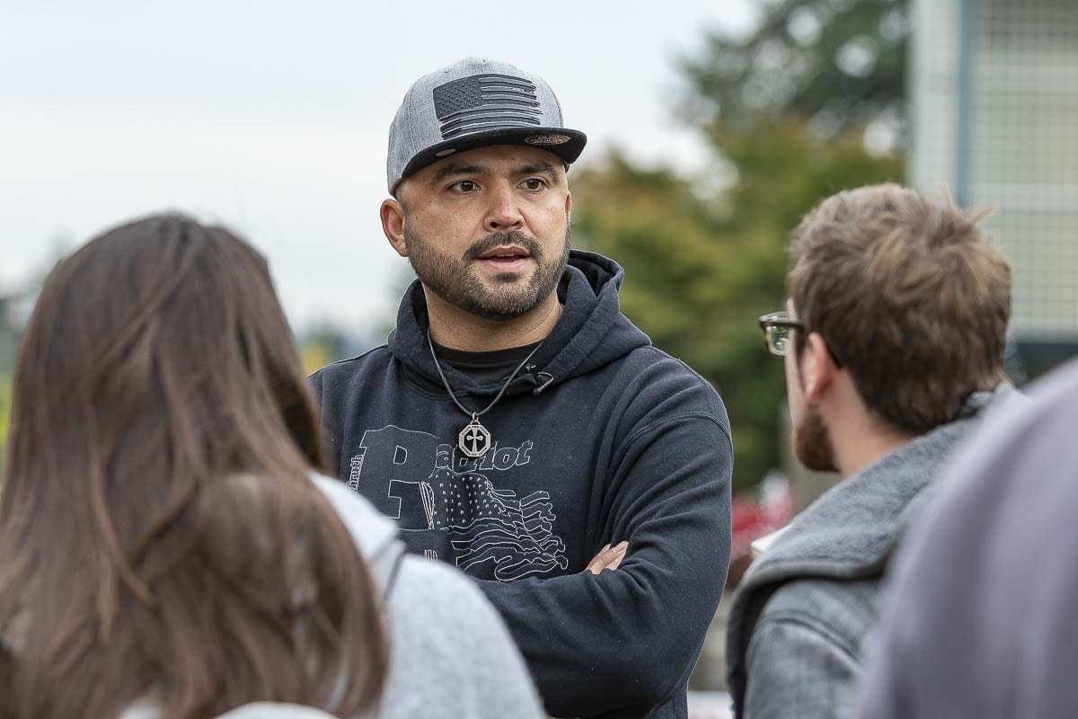 Joey Gibson talks to students at a rally on the WSU Vancouver campus this week. Photo by Mike Schultz