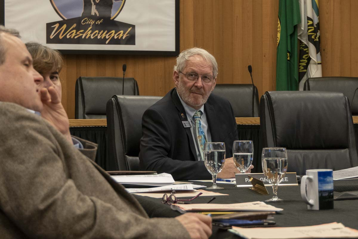 Washougal City Council Member Paul Greenlee is shown here at a city council workshop on Oct. 8. Photo by Jacob Granneman