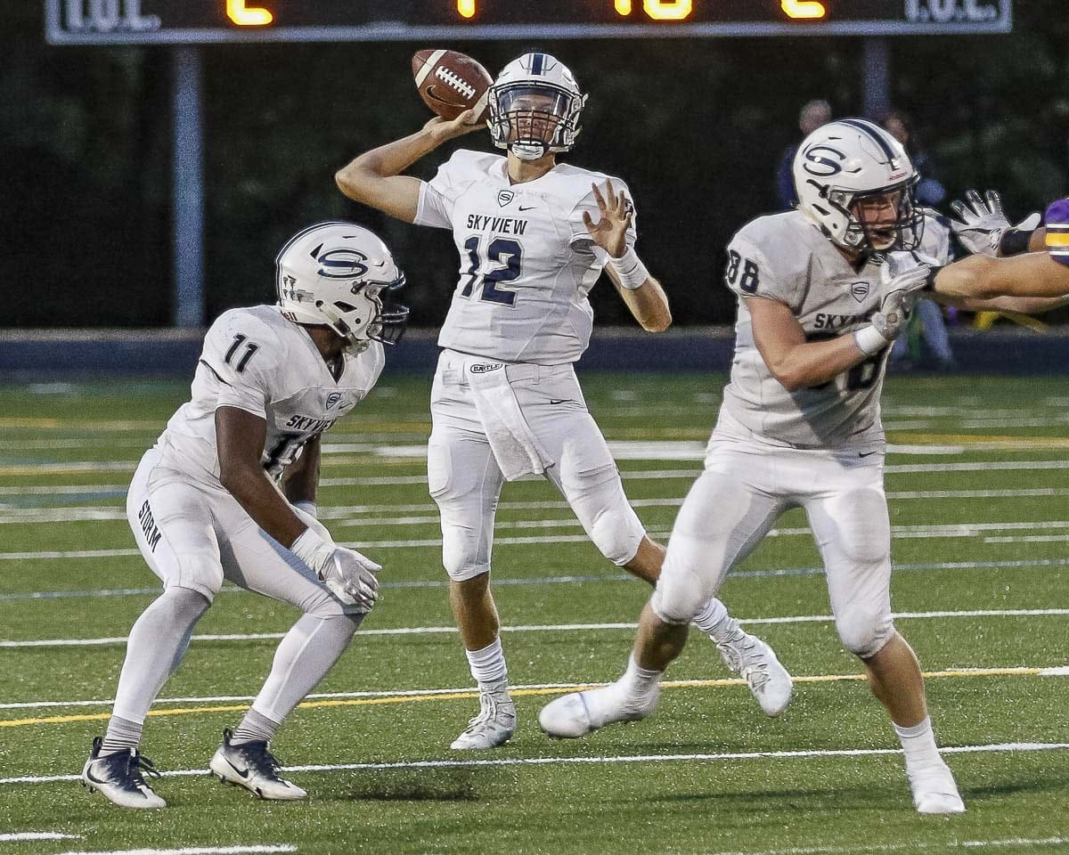 Skyview quarterback Yaro Duvalko has thrown 15 touchdown passes through five weeks. He and the Storm host No. 1 Union this week. Photo by Mike Schultz