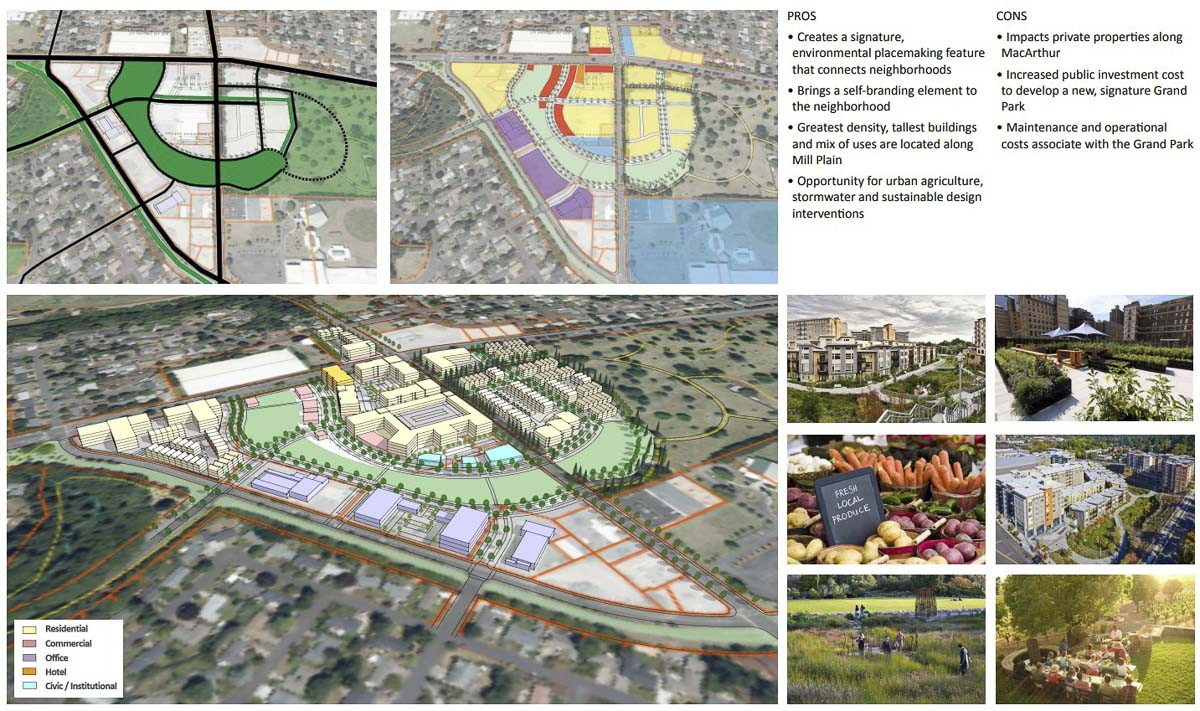The Grand Park concept for the Tower Mall Redevelopment. Image courtesy City of Vancouver