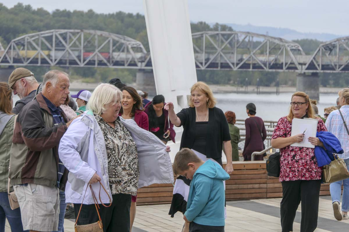 Vancouver mayor Anne McEnerny-Ogle and Washington Senator Maria Cantwell tour the new Waterfront Park ahead of the grand opening. Photo by Chris Brown