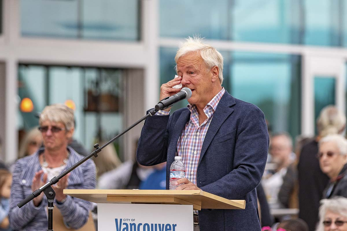 Barry Cain, president of Gramor Development, wipes away tears at the dedication of the new Vancouver Waterfront Park. Photo by Mike Schultz