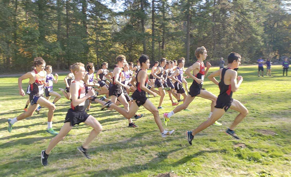 Five teams started the Class 4A District 4 boys cross country meet Thursday, and one team, Camas, had five runners place in the top five. Photo by Paul Valencia