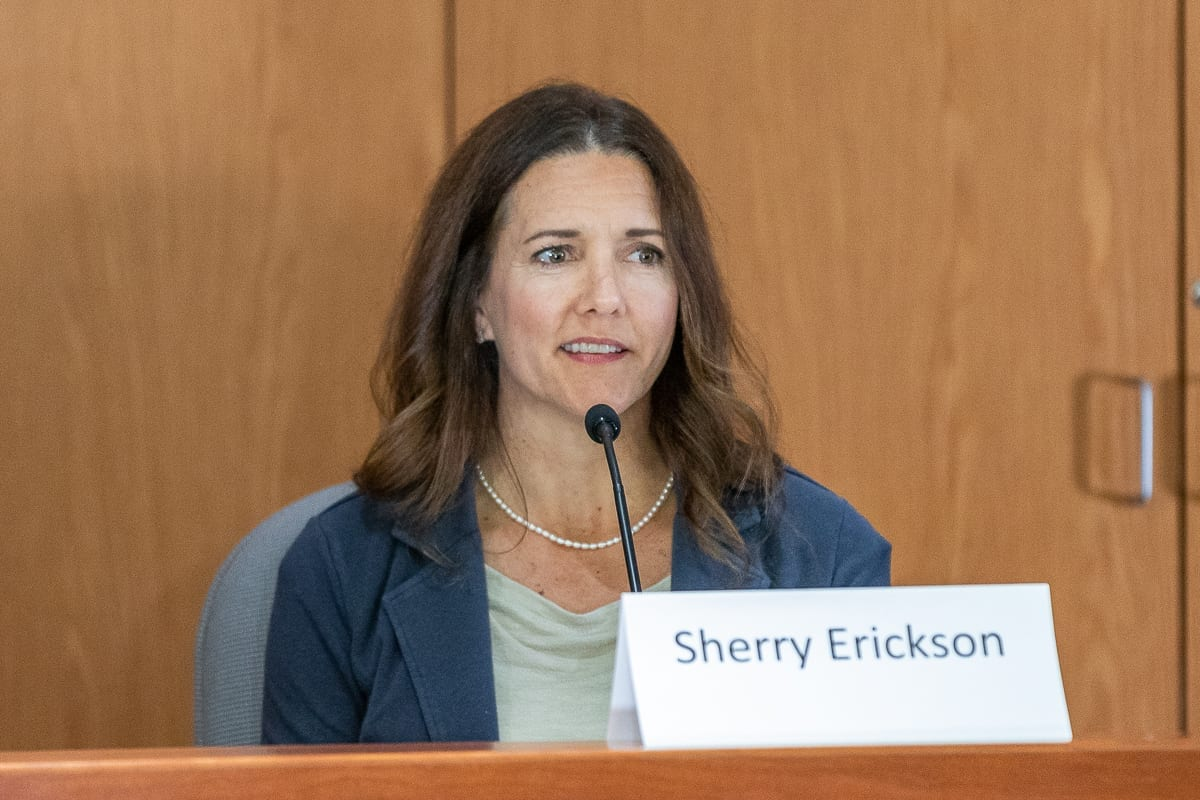 Sherry Erickson, running for Clark Public Utility Commissioner, District 1 is shown here at a recent League of Women Voters candidate forum. Photo by Mike Schultz