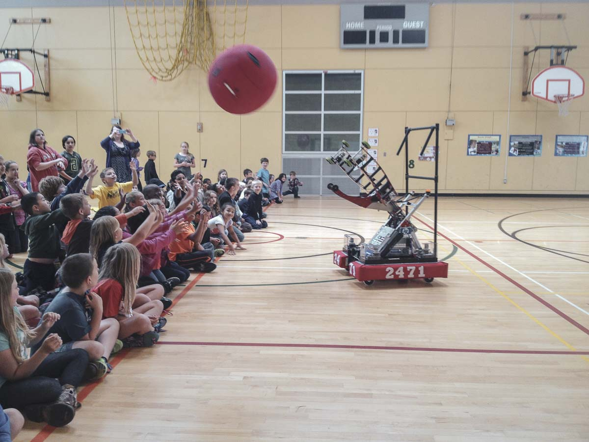In the past, Team 2471's robot launched balls high into the air. Each year the robot is modified and often redesigned or retooled to meet the current year's challenges. Photo courtesy of Bruce Whitefield