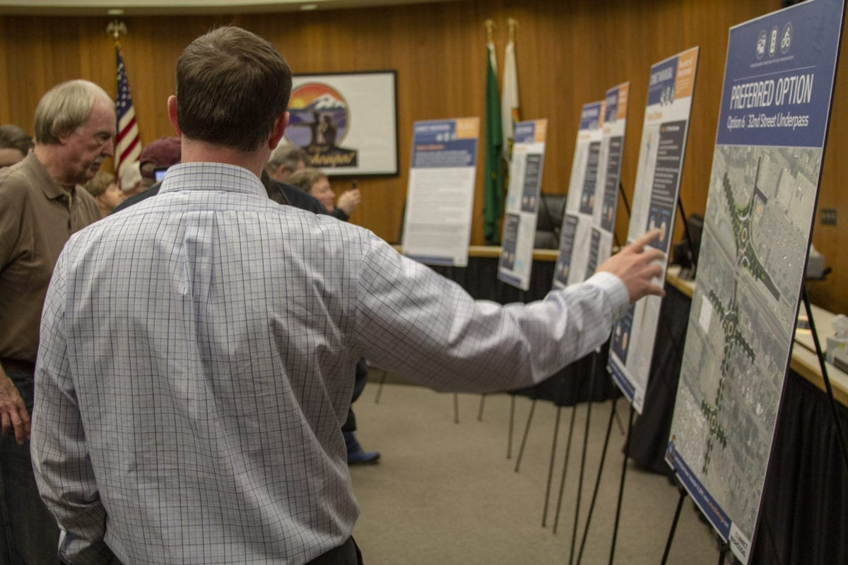 The city of Washougal held on open house to explain its plans for the Connecting Washougal project on Nov 14. Seven options were presented to overhaul the 27th and 32nd street intersection, with one being the preferred. Photo by Jacob Granneman