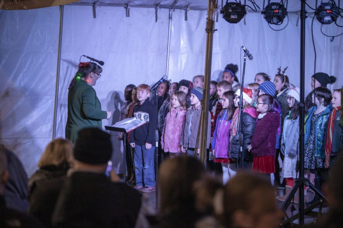 The student choir from Fruit Valley Elementary, performs Christmas carols for a audience of hundreds at the Vancouver tree lighting. Photo by Jacob Granneman