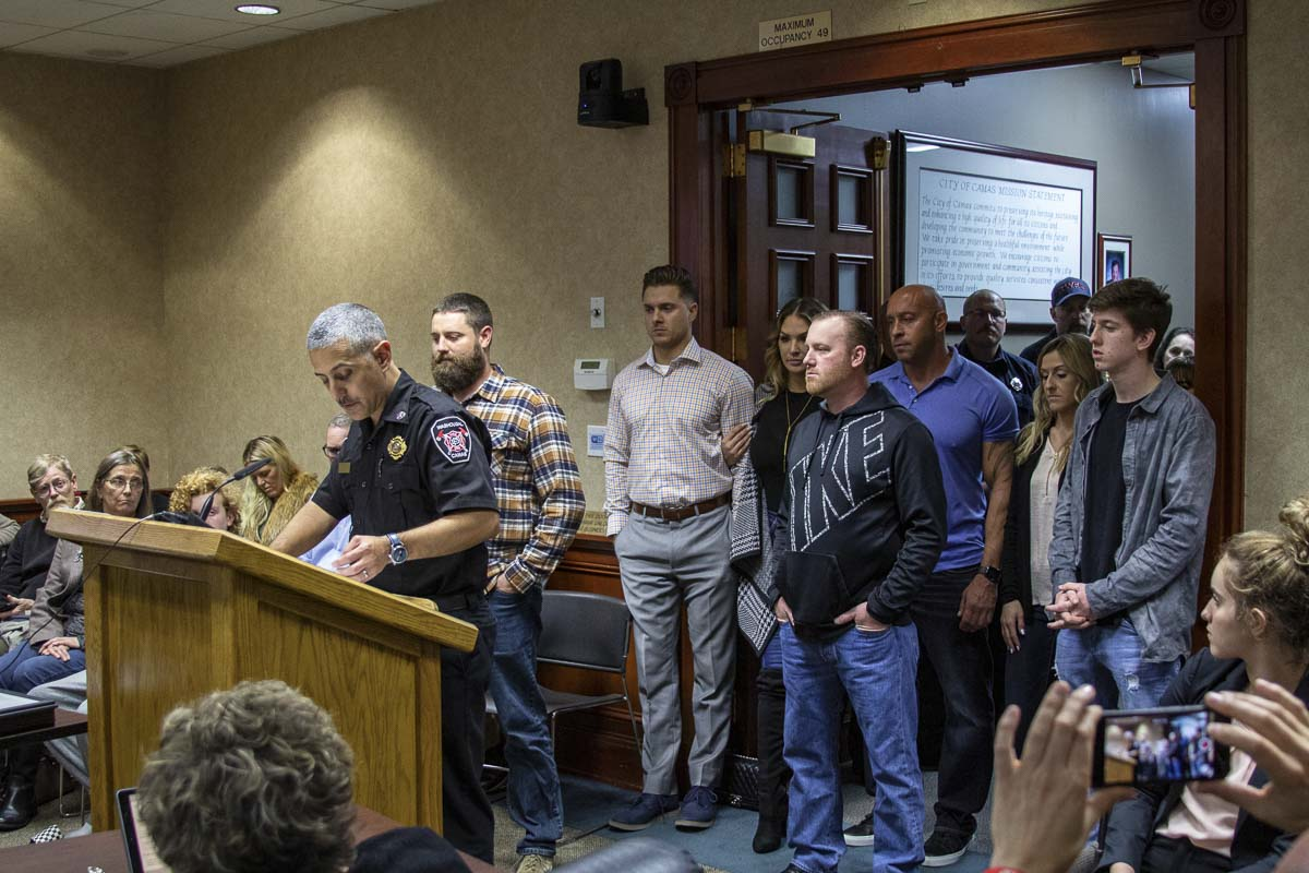 ire chief of Camas Fire Department, Nick Swinhart, gives a short speech at Monday's Camas City Council meeting, honoring the bystanders that saved lives in September's boat crash. Photo by Jacob Granneman