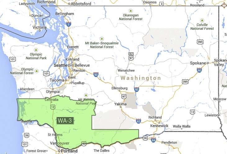 Washington's 3rd Congressional District. Image courtesy Google Maps