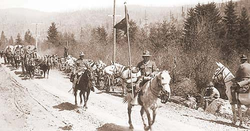 Troops march through Camp Bonneville in this undated photo courtesy of the Clark County Historical Society