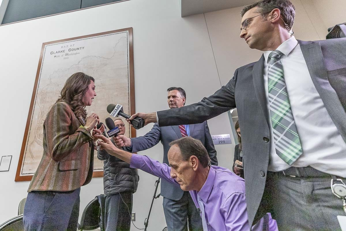 Rep. Jaime Herrera Beutler talks with reporters inside the Clark County building on election night. Photo by Mike Schultz
