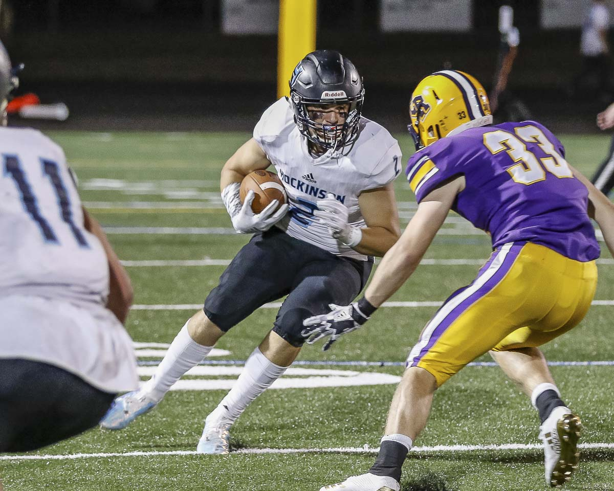 Hockinson tight end Jeremiah Faulstick and the rest of the Hawks are focused on the playoff run now. The Hawks have won 23 in a row, dating back to last season, and are the No. 1 seed in Class 2A. Photo by Mike Schultz