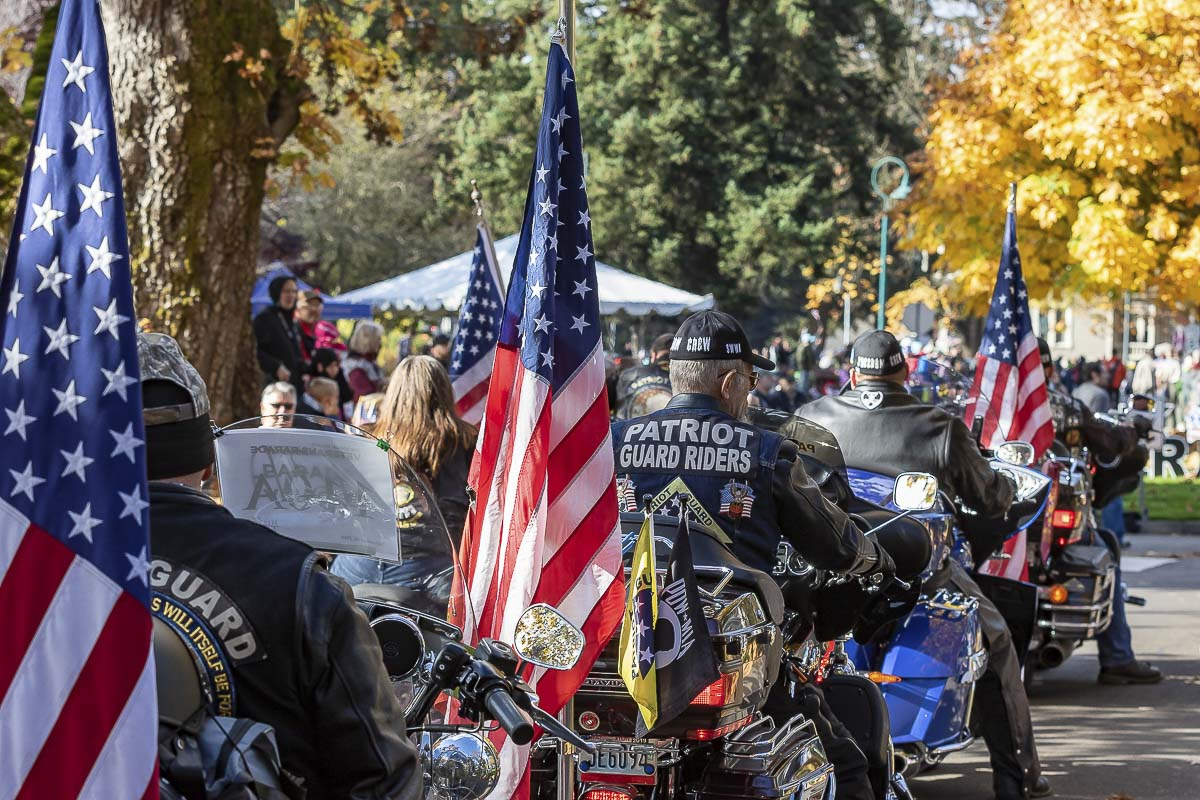 Members of the Patriot Guard Riders were among the participants Saturday at the annual Veterans Day Parade along Officer's Row at the Fort Vancouver National Historic Site. Photo by Mike Schultz