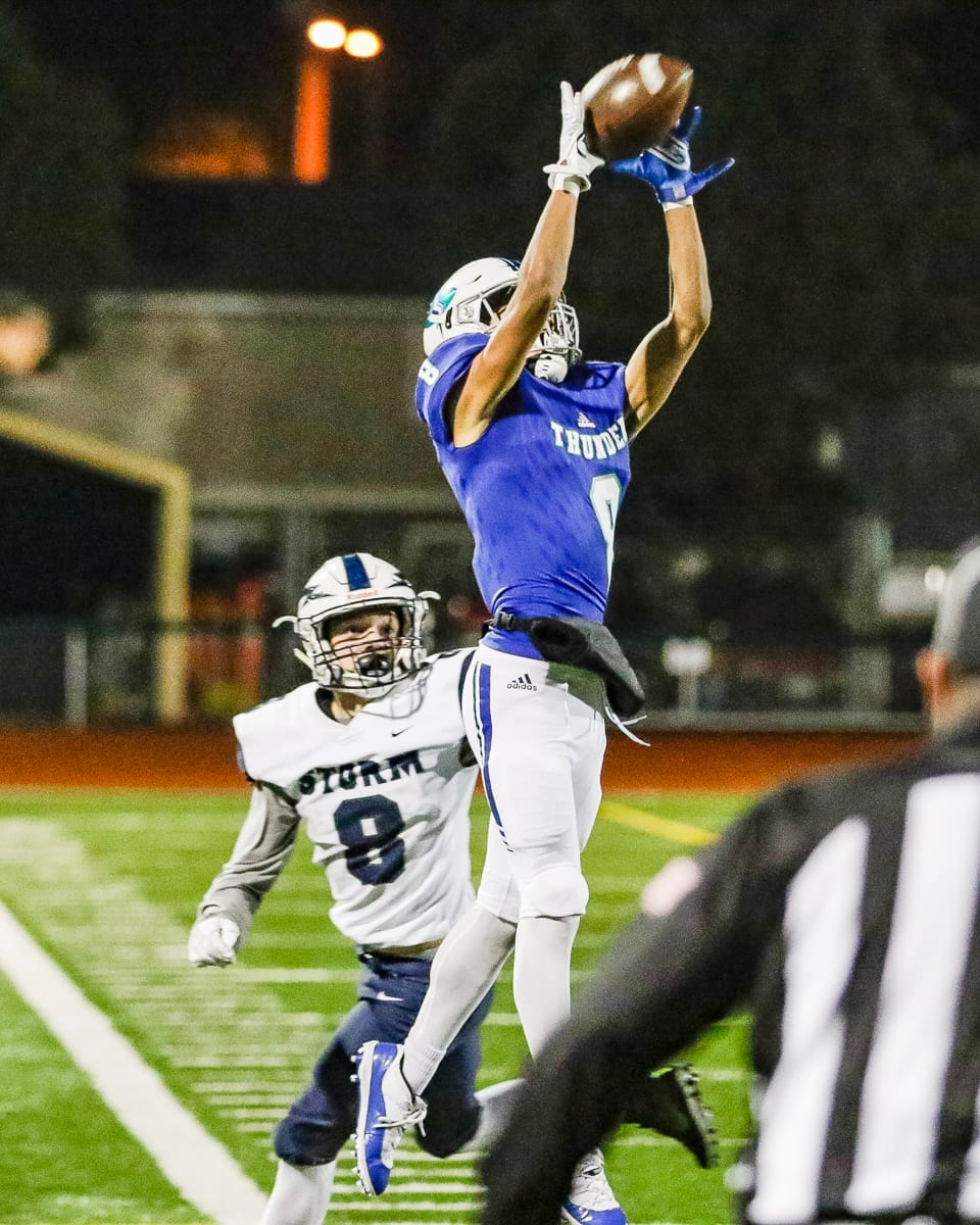 Mountain View's Michael Bolds (8), shown here in a playoff victory over Squalicum, had his ninth interception of the season Saturday but the 2018 season came to an end for the Thunder with a loss in the Class 3A state semifinals. File photo by Mike Schultz