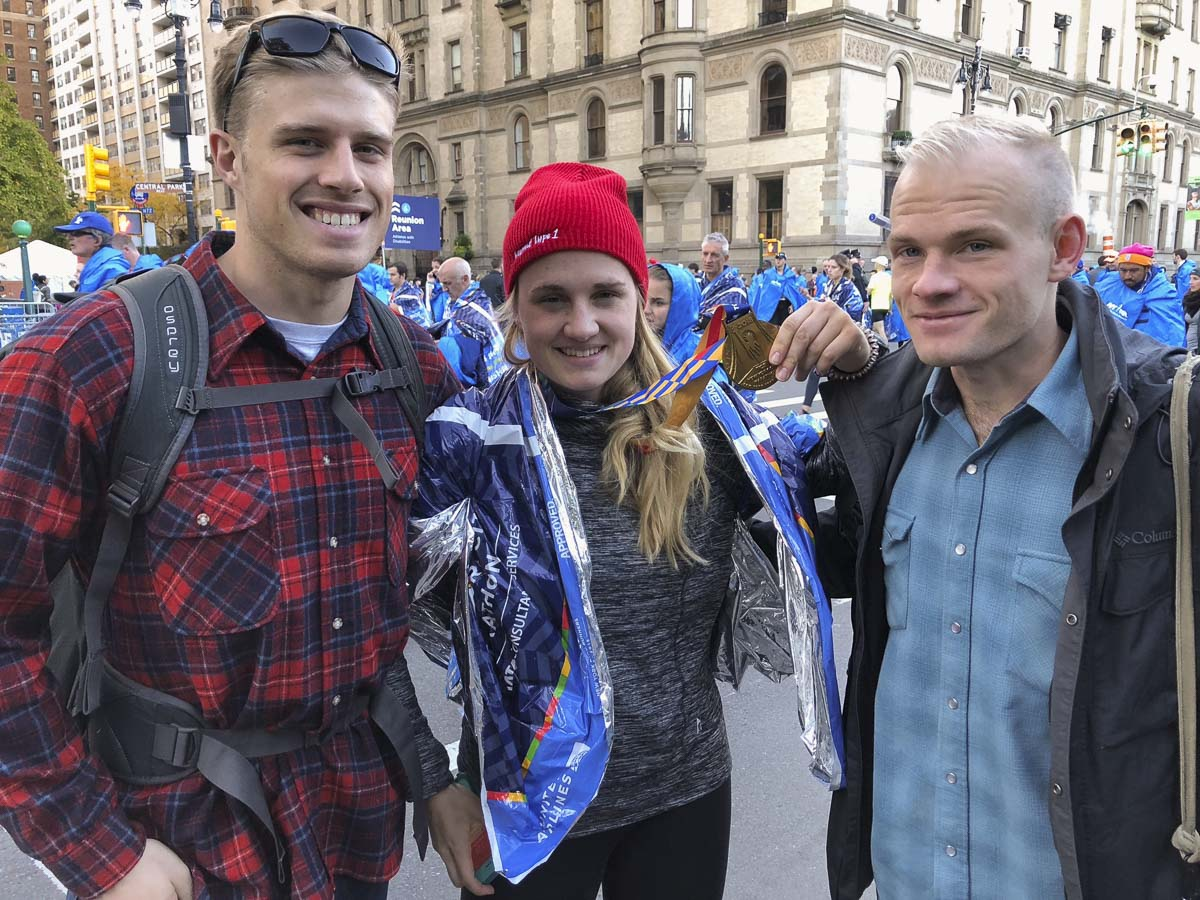Kirsten Myers, (center), is joined in New York City at the 2018 Marathon by her brothers Ian, (left), and Erik, (right). Photo courtesy of Kirsten Myers