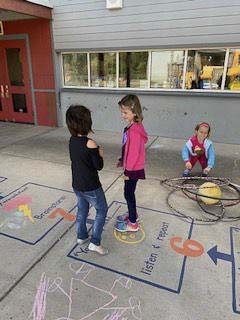Union Ridge Elementary School students practice conflict resolution skills using the Peace Path. Photo courtesy of Ridgefield School District
