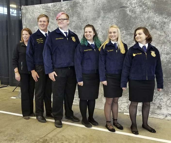 Chapter Coach Mary Ellen Vetter (far left), Cooper Kaml, Jacob Laddusaw, Elisabeth Patnode, Megan Shubert and Jennifer Parkhill are shown here. Photo courtesy of Woodland School District