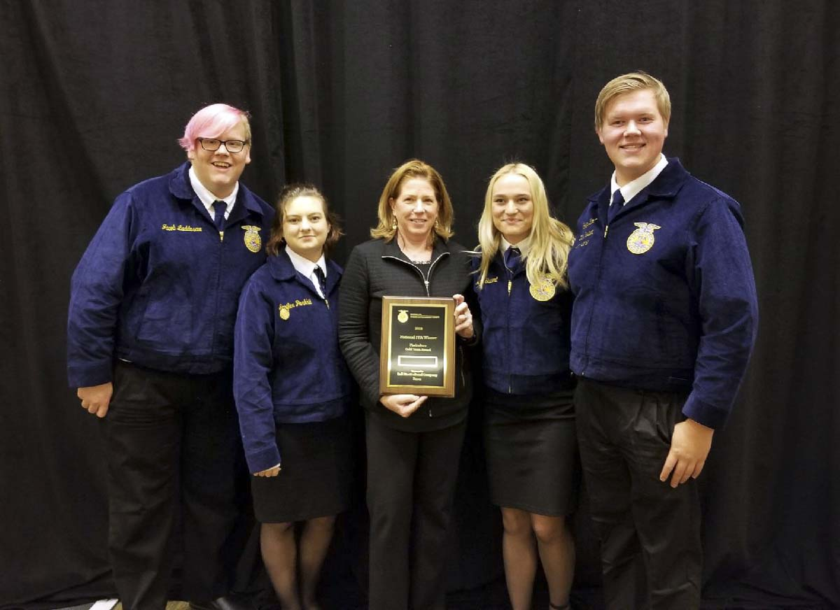 Members of the Woodland High School Floriculture team are shown here (left to right): Jacob Laddusaw, Jennifer Parkhill, Mary Ellen Vetter, Megan Shubert, and Cooper Kaml. Photo courtesy of Woodland School District