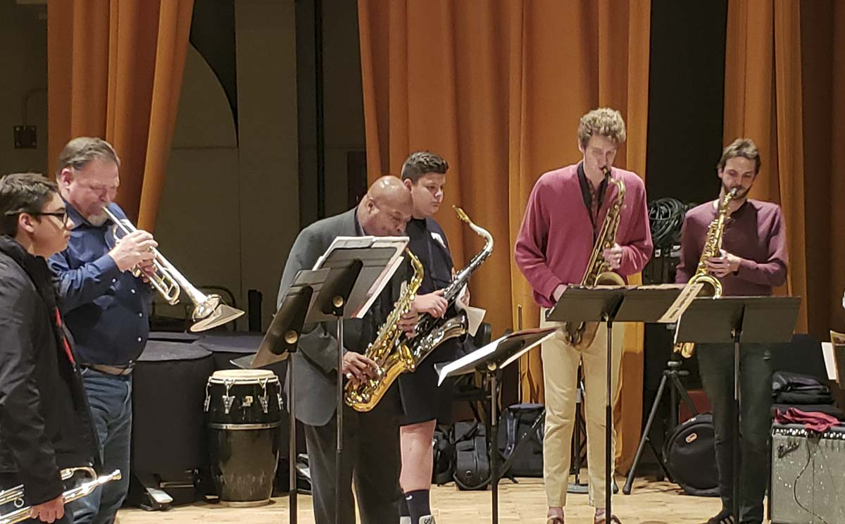 Students from Woodland High School recently attended college classes and played alongside college musicians. Photo courtesy of Woodland Public Schools