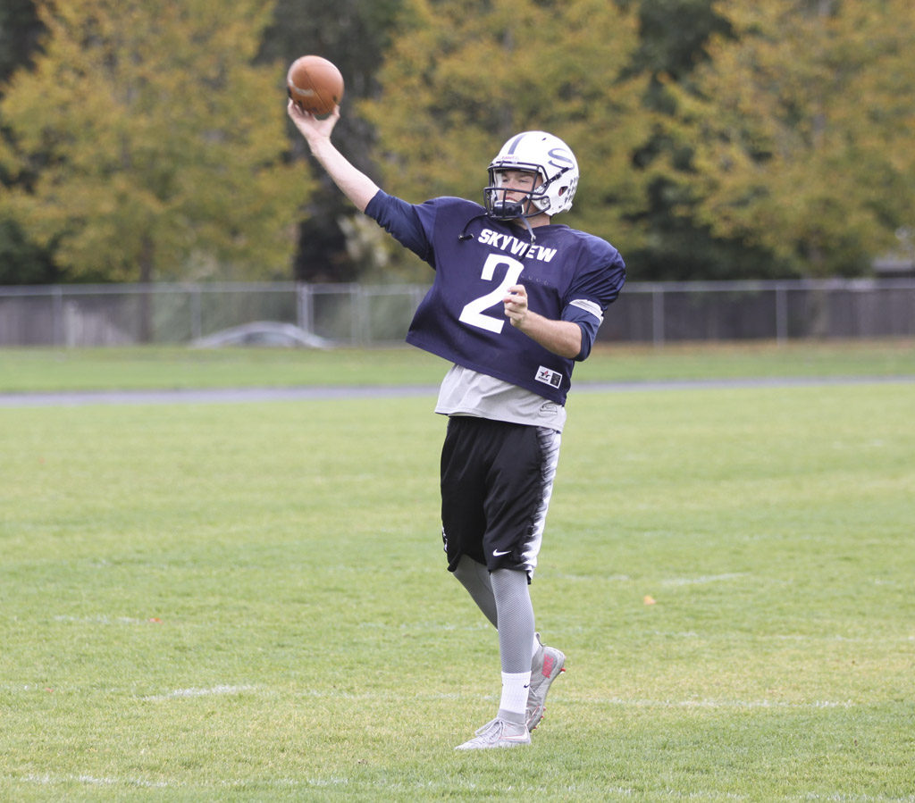 Skyview quarterback Brody Barnum, son of Portland State football coach Bruce Barnum, has twice run for more than 100 yards this season. Photo by Nick Daschel