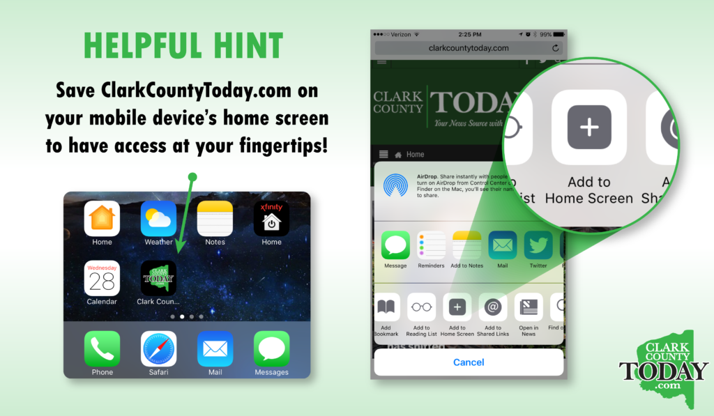 Save ClarkCountyToday.com on your mobile device's home screen to have access at your fingertips!