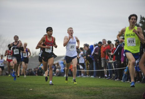 Camas' Yacine Guermali, running here in the 2015 4A state cross country meet, has Clark County's fastest boys 5,000-meter time this fall. Photo courtesy Camas High School
