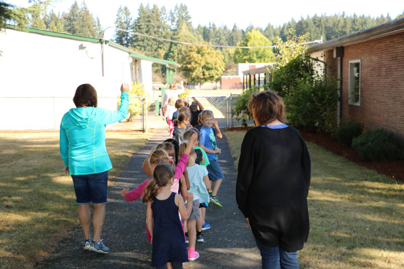 Students at Glenwood Heights Primary School learn the behavior expectations as they walk across campus. Photo courtesy of Battle Ground Public Schools