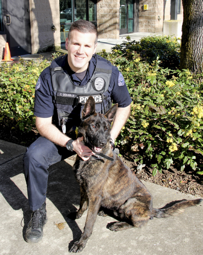 The Vancouver Police Department will introduce the newest members of the Vancouver Police K9 Unit, Officer Chris Douville and his K9 partner, Doc, a 3-year-old Dutch Shepherd, at a public event at 2 p.m., Wed., Sept. 28, at the Vancouver Police East Precinct, 520 S.E. 155th Ave., Vancouver. Photo courtesy of the Vancouver Police Department
