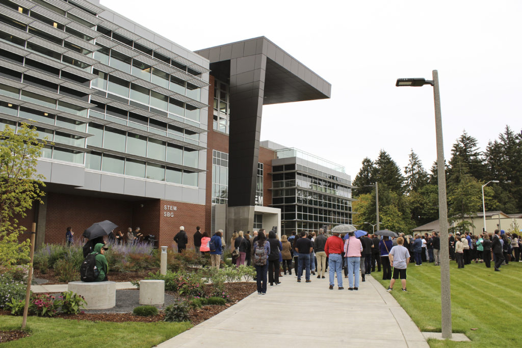 A crowd of community members, politicians, educators and students gather at the official ribbon-cutting for Clark College's new $40 million STEM (science, technology, engineering and mathematics) building on Mon., Oct. 3. Photo by Kelly Moyer.