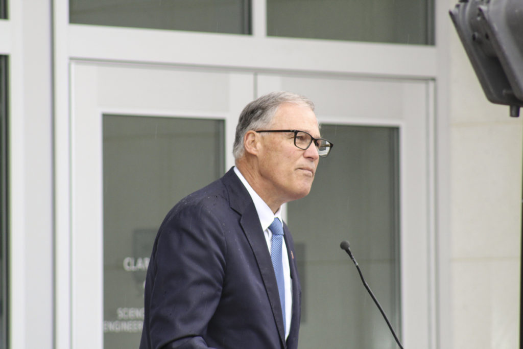 Washington State Governor Jay Inslee speaks at a ribbon-cutting for the new, 70,000-square-foot science, technology, engineering and mathematics building at Vancouver's Clark College on Mon., Oct. 3. Photo by Kelly Moyer.