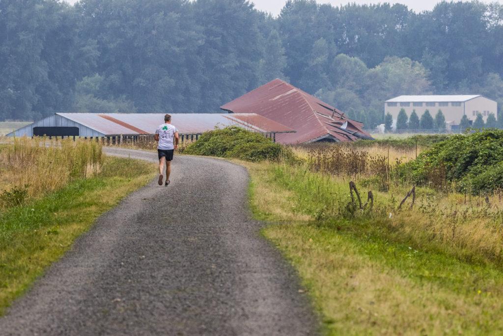 Runner on Columbia River Dike Trail