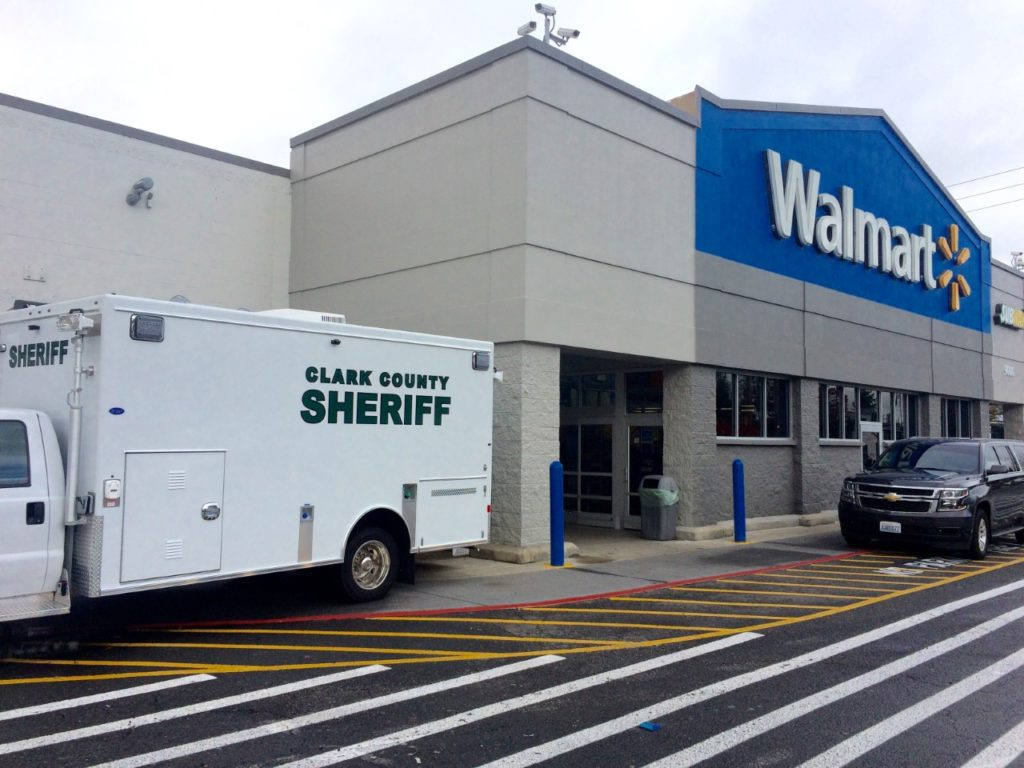 Police responded to reports of an active shooter inside the Hazel Dell Walmart off Highway 99 early this morning, after a 9-1-1 call came in at 6:55 a.m., Wed., Oct. 5, less than one hour after the store opened to the public for the day. No one was injured or shot during the incident, according to police. Photo by Mike Schultz