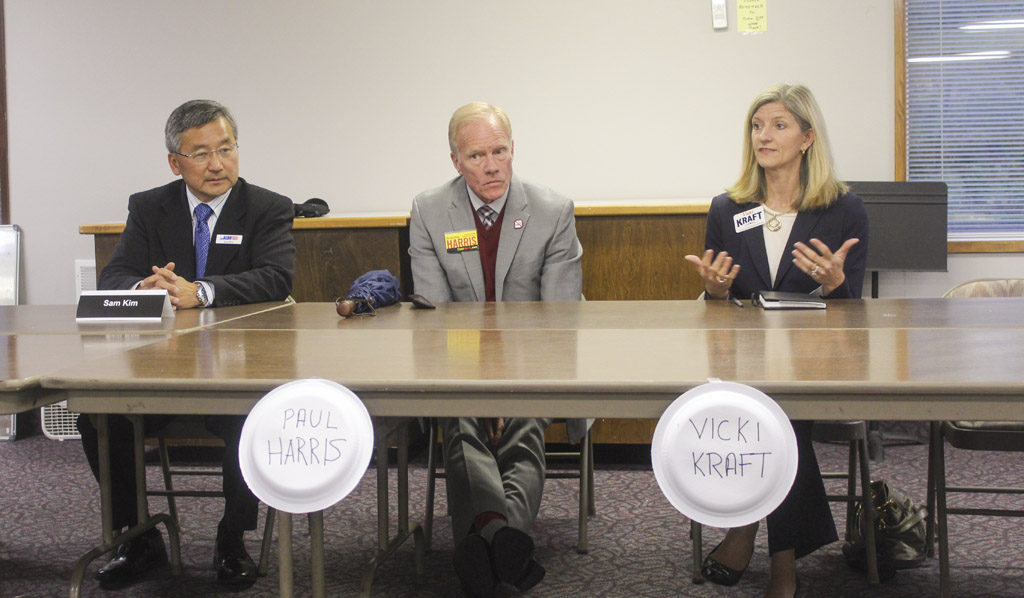 Three candidates who are running for positions within the state's 17th Legislative District took part in a candidate forum on Oct. 13. Pictured, from left to right, are Sam Kim, Paul Harris and Vicki Kraft. Photo by Joanna Yorke