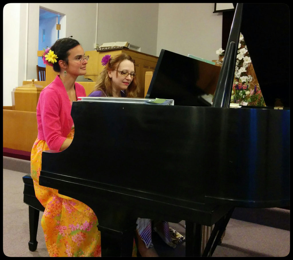 The Grazioso Duo performs inside the Camas United Methodist Church. The duo, which includes internationally trained musicians Nilda Curtis (left) and Tatiana Kolchanova (right), will perform with special guest artist Liberty Broillet, a principal flutist with the Portland Columbia Symphony (not pictured) at the Camas United Methodist Church's Autumn Benefit Concert this weekend, on Sat., Oct. 22. Photo by Kelly Moyer