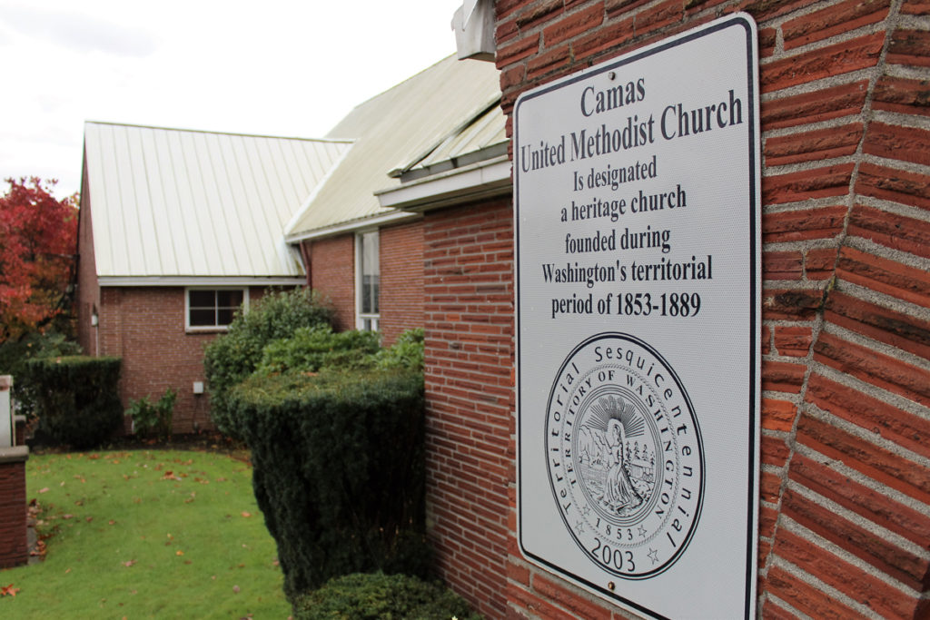The Camas United Methodist Church is one of the oldest churches in eastern Clark County. Camas Mayor Scott Higgins honored the church with the Mayor's Volunteer Spirit Award this week, thanking the church for sponsoring 10 years' worth of Movies in the Park events for the greater Camas community. Photo by Kelly Moyer