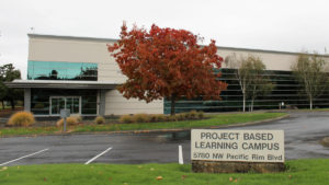 Camas' newest school, the Project Based Learning Middle School, is located inside the former Sharp Laboratories of America building