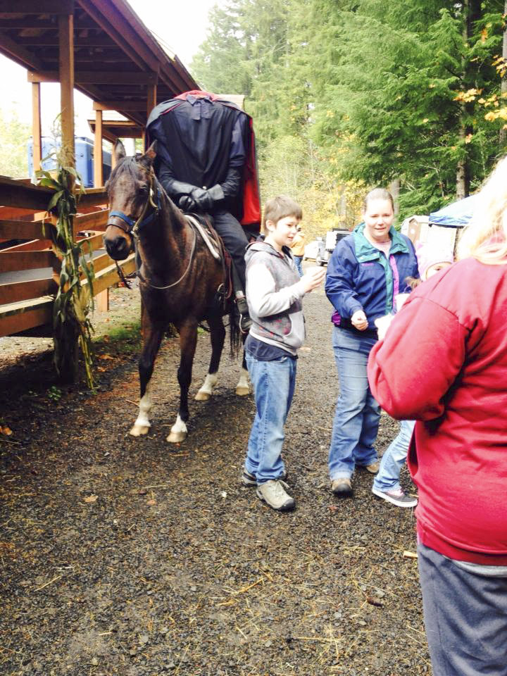 Coming up Oct. 29 and 30, the Chelatchie Prairie Railroad will offer its Headless Horseman Halloween Train, which includes spooky decorations, treats and a visit from the Headless Horseman. Photo from the Chelatchie Prairie Railroad Facebook page