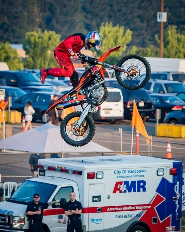 Kyle Demelo shows off his skills during the MX Motorcycles exhibition Wednesday evening at the Clark County Fair. Photo by Mike Schultz
