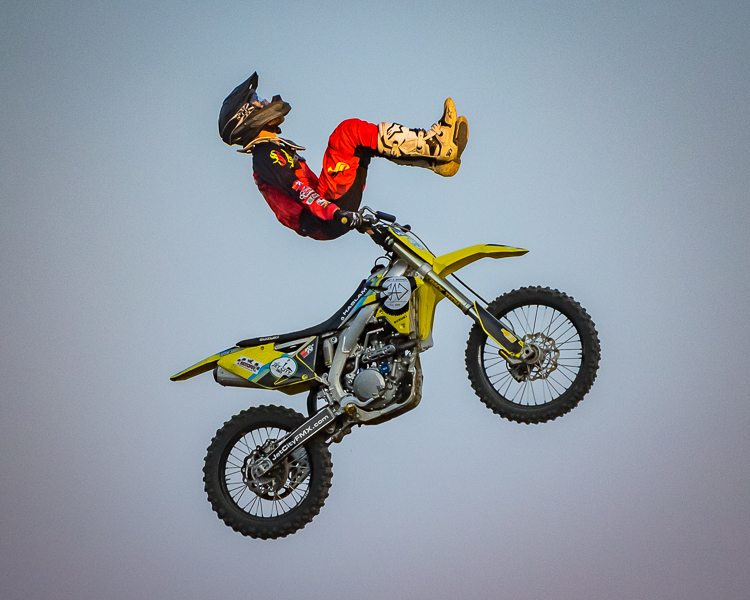 Robert Haslem, of Seattle, increases his degree of difficulty during the MX Motorcycles event Wednesday at the Clark County Fair. Photo by Mike Schultz