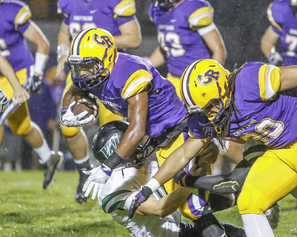 Columbia River will travel to Hockinson for a Friday game that could decide the GSHL Class 2A championship. Here, Chieftain running backs Nathaniel Trevino (4) and Hunter Peterson (30) are shown in last week's win over Woodland. Photo by Mike Schultz