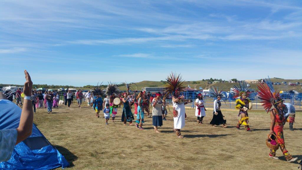 Aztec Indians lead a prayer at the Dakota Access Pipeline resistance efforts in early September. Photo courtesy of Melody Pfeifer, Cowlitz Indian Tribe