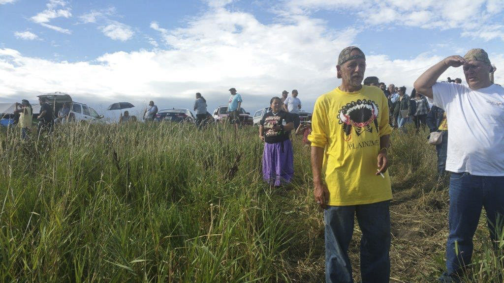 Native Americans at the Dakota Access Pipeline resistance gather for peaceful prayer and nonviolent resistance in early September. Photo courtesy of Melody Pfeifer, Cowlitz Indian Tribe