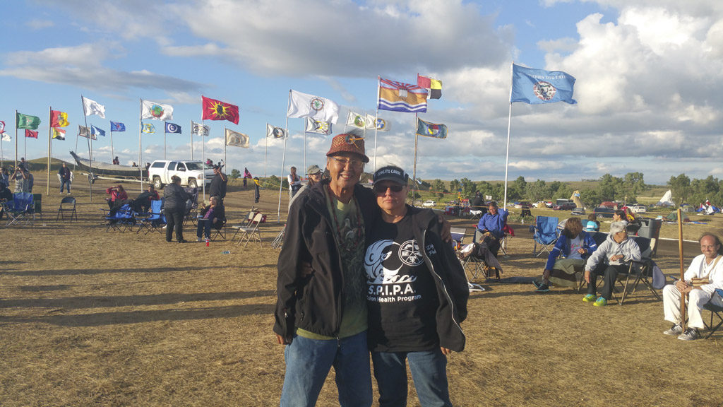 Linda O'Brien, wife of Cowlitz Tribal Council member John O'Brien (not pictured), joined a massive gathering of Native Americans on the Standing Rock Sioux reservation in North Dakota in early September to protest construction of a crude oil pipeline that tribal members from across North, Central and South America say jeopardizes sacred sites and could destroy the Missouri River watershed. Photo courtesy of Melody Pfeifer, Cowlitz Indian Tribe