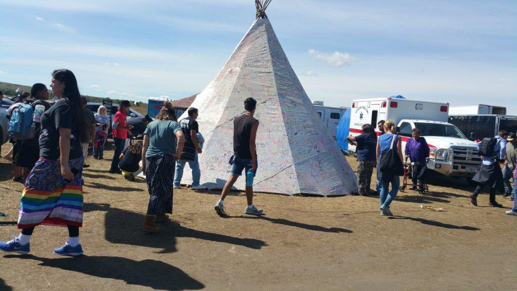 A teepee at the main camp inside the Dakota Access Pipeline resistance that members from hundreds of Native American tribes throughout the United States, Canada and Latin America have signed since the protests began in August. Photo courtesy of Melody Pfeifer, Cowlitz Indian Tribe