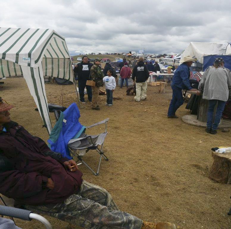 Known as 'Facebook Hill' this area at the Dakota Access Pipeline resistance in North Dakota near the Standing Rock Sioux Reservation is where many Native American pipeline protesters could finally get reception to send messages, photos and social media blasts to their family and friends back home. Photo courtesy of Melody Pfeifer, Cowlitz Indian Tribe
