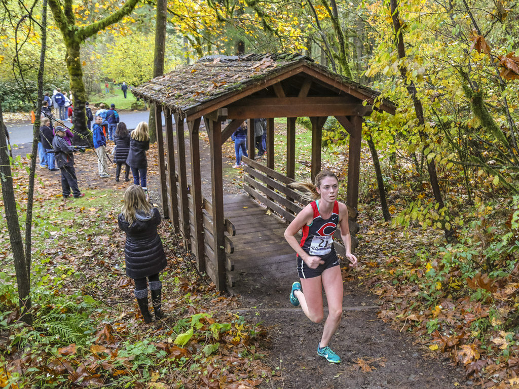 Led by meet champion Emma Jenkins (21), Camas easily won its fifth consecutive Greater St. Helens League Class 4A girls cross country championship Thursday at Lewisville Park in Battle Ground. Photo by Mike Schultz