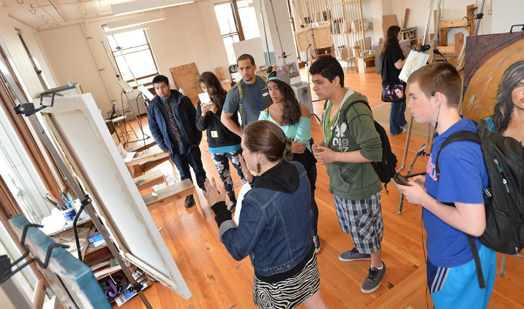 Students from Hudson's Bay High School gather for an educational event at the Pacific Northwest College of Art in Portland during a recent college visit sponsored by the Vancouver school district's GEAR UP program. Photo courtesy of Vancouver Public Schools district