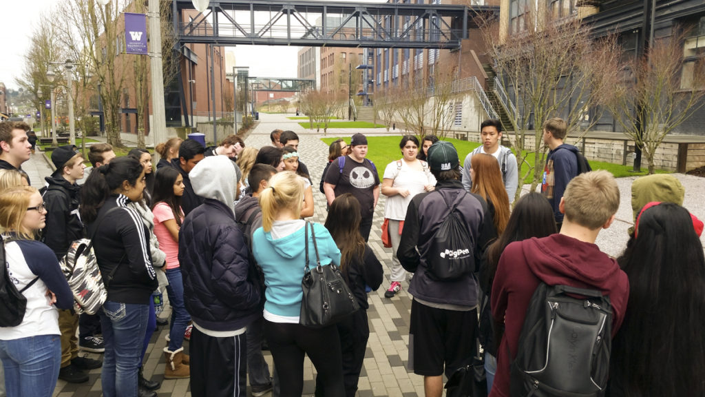 Students from Vancouver Public Schools district, pictured here at a recent University of Tacoma college campus visit, will have the chance to explore a variety of post-high school possibilities at the Future U Fair, from 5 to 8 p.m., Tue., Oct. 25, at Hudson's Bay High School in Vancouver. Photo courtesy of Vancouver Public Schools district