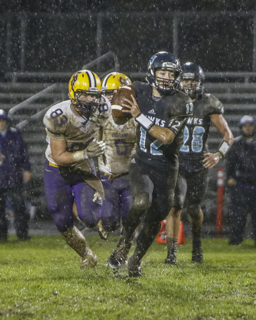 Hockinson high school football quarterback Canon Racanelli Week 9 in Class 2A Greater St. Helens League