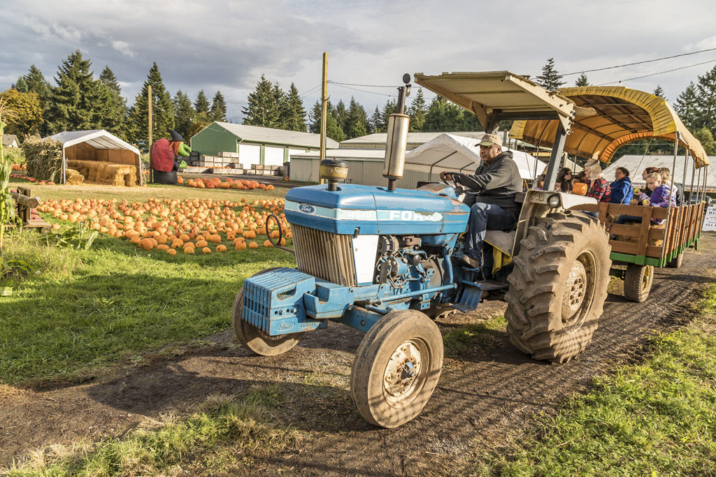 Children and adults alike enjoy a hayride to the pumpkin patch at Joe's Place Farms in Vancouver. Photo by Mike Schultz